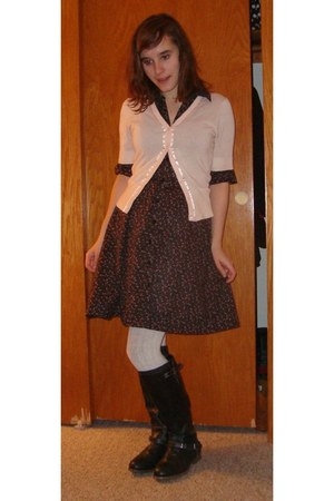 black Target boots - black floral H&M dress - ivory Target tights - light pink J