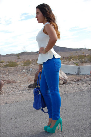white Local Boutique blouse - blue c JCPenney jeans - blue Steve Madden bag
