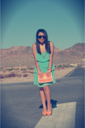 aquamarine Forever21 dress - carrot orange or Forever21 bag