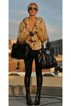 faux fur coat - faux leather leggings - aviator glasses - heels