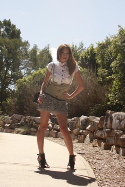 Mollini shoes - vest - blouse - skirt - Chanel accessories