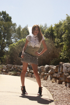 Mollini shoes - vest - blouse - skirt - Chanel accessories