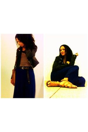 blue long skirt skirt - gray denim jacket jacket - light brown sleeveless blouse