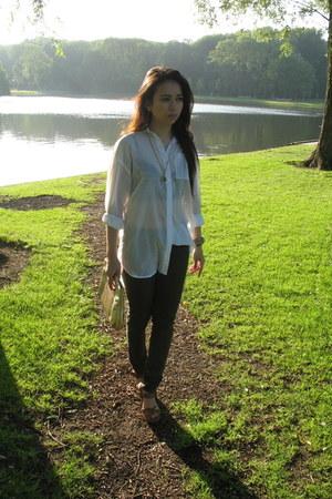 brown leopard print Topshop bra - white H&M blouse