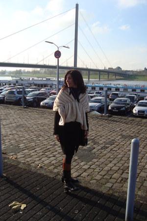 black Primark coat - beige Primark scarf - black boots