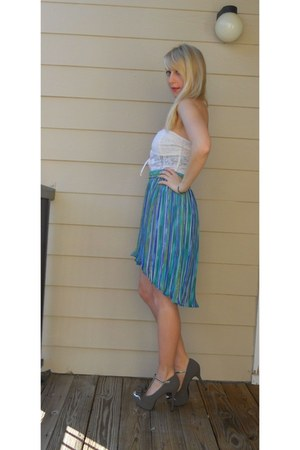 turquoise blue fishtail vintage skirt