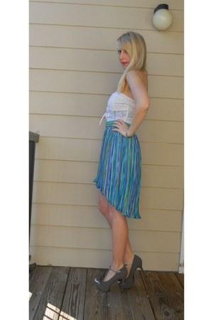 turquoise blue fishtail vintage skirt