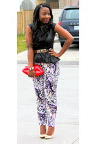 black asoscom top - red Aldo bag - purple asoscom pants