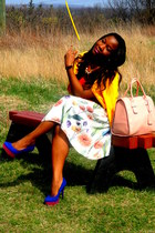 cream H&M skirt - salmon asos bag - blue Payless pumps - yellow H&M cardigan
