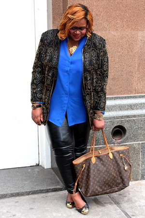 black thrift jacket - burnt orange tory burch shoes - blue thrift shirt
