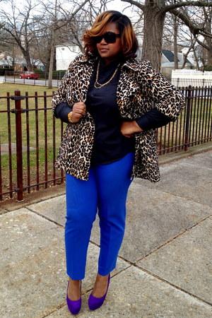 tawny NY & Co coat - black Thrift find shirt - blue Thrift find pants