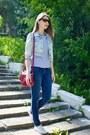 Navy-skinny-jeans-h-m-jeans-ruby-red-cross-body-bag-zara-bag