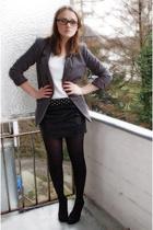 gray H&M blazer - gray H&M shirt - black Tally Weijl skirt - black Gio Moda shoe