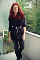 black American Apparel scarf - black H&M leggings - black Tango boots - black vi
