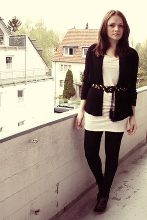 beige H&amp;M dress - black H&amp;M cardigan - black H&amp;M belt - brown Akira shoes