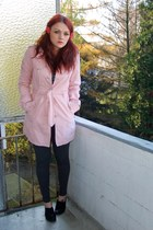 light pink Pimkie coat - gray TK Maxx dress - gray H&M leggings - black H&M shoe