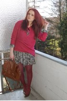 brown vintage shoes - green H&M dress - maroon GINA TRICOT sweater - crimson H&M