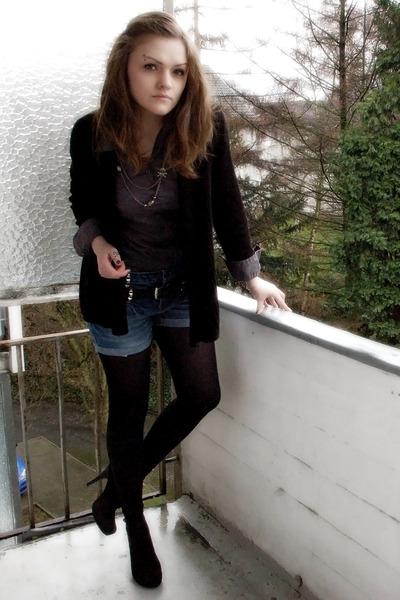 black H&M cardigan - gray Vero Moda blouse - blue diy shorts - black Gio Moda sh