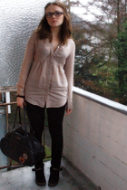 black H&M cardigan - beige Apriori blouse - black H&M leggings - black Tango boo