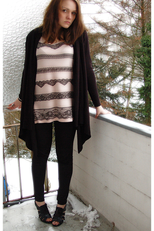 black Esprit cardigan - beige H&M shirt - black H&M leggings - black Graceland s