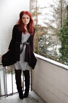 heather gray Sisters dress - black Esprit cardigan - black bronx shoes - black b