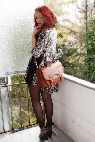 green floral H&M dress - brown leopard print vagabond shoes - brown H&M