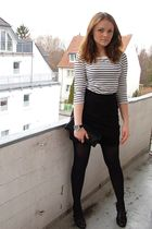 white Vero Moda top - black H&M skirt - black Graceland shoes - black LCredi pur