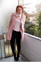 pink Pimkie coat - light pink H&M top - black H&M skirt - black 5th Avenue heels