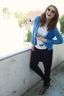 Blue-cardigan-white-diy-shirt-black-amisu-pants-black-bronx-shoes-gold-h