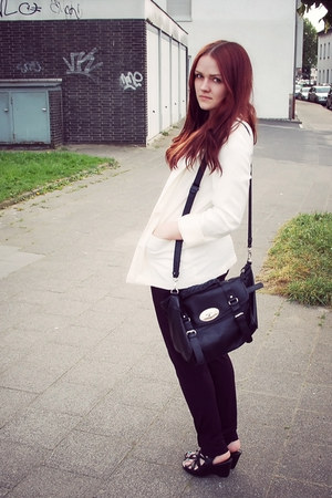 black bronx shoes - white H&M blazer - black H&M pants - blue nailpolish Catrice