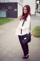 black bronx shoes - white H&M blazer - black H&M pants - blue nailpolish Catrice