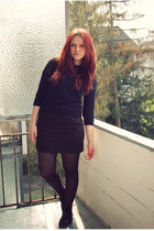 black H&M tights - black asos top - black H&M skirt
