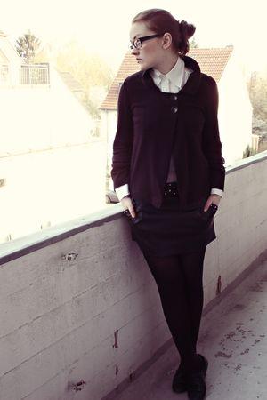 black Cassani cardigan - black Tally Weijl skirt - white Esprit blouse - black H