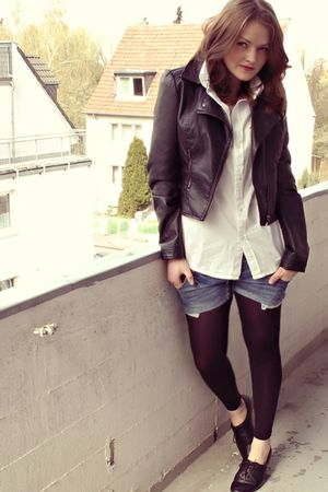 black H&amp;M jacket - white Esprit shirt - blue DIY shorts - black H&amp;M shoes