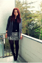 heather gray H&M blazer - black Gio Moda heels - white H&M skirt - silver Guess