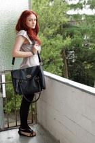 black Buffalo shoes - periwinkle H&M dress - black Primark bag