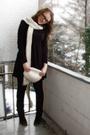 Black-esprit-dress-brown-soliver-boots-white-h-m-hat-white-h-m-scarf