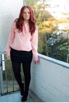 black TK Maxx blazer - black Gio Moda heels - black Mango skirt - light pink TK