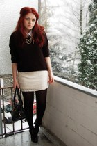 black GINA TRICOT sweater - nude H&M dress - black Vero Moda coat - black Gabor