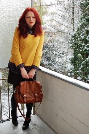gray Pimkie blouse - black 5th Avenue shoes - brown H&M purse - black H&M skirt