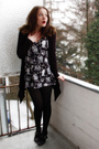 Gray-h-m-dress-black-esprit-cardigan-black-tamaris-shoes