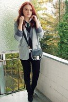 heather gray H&M blazer - gray H&M cardigan - black Esprit vest - white Esprit b