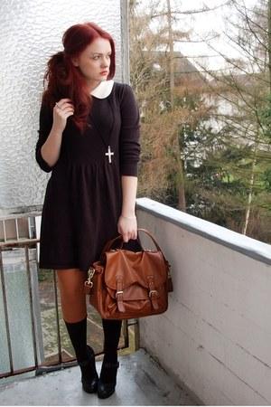 brown 5th Avenue shoes - black asos dress - burnt orange H&M tights - tawny H&M