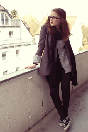 gray H&amp;M blazer - black H&amp;M top - gray H&amp;M cardigan - black H&amp;M leggings - black