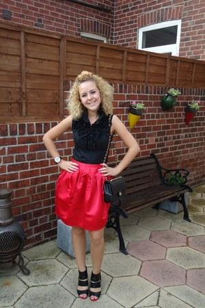 TKMaxx shirt - Chanel bag - Topshop skirt - patricia field heels - ToyWatch watc