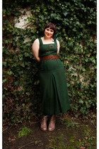forest green T2 vintage dress - forest green veritas tights