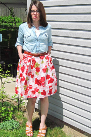 pink BB Dakota skirt - blue wal-mart shirt - brown thrifted belt - brown Charlot