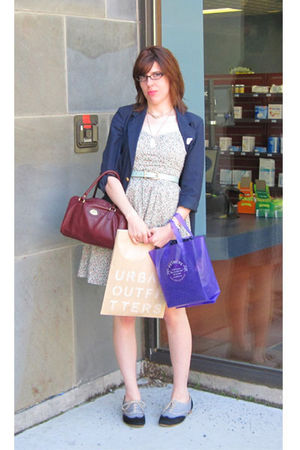 white Tulle dress - blue thrifted blazer - blue vintage belt - brown etienne aig