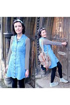 sky blue denim vintage dress - cream backpack Accessorize bag