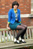 black checkered MartofChinacom boots - blue blazer Zara blazer